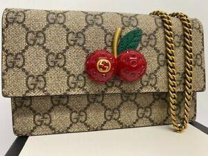 Gucci GG Supreme Mini Bag With Cherries Handbag Style 481291