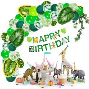 Birthday-Balloons-Decoration-Confetti-Large-Foil-Leaf-Ballon-Jungle-Party-Decor