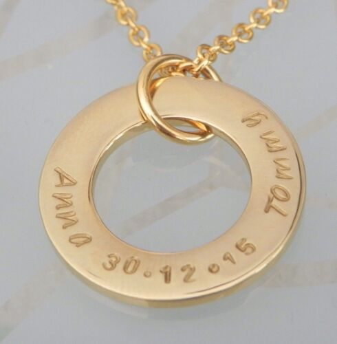 Personalised  Hand Stamped Family Names Or Any Wording Mothers Pendant Gold IPL