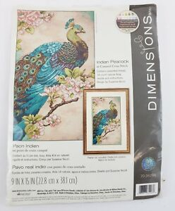 Counted Cross Stitch Kit INDIAN PEACOCK Dimensions