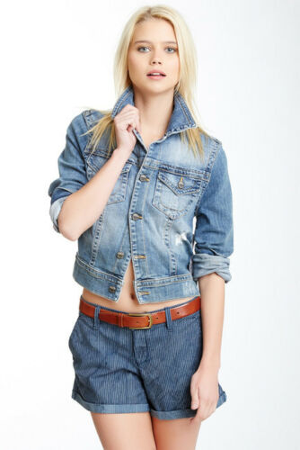 Design Lab de jean Veste coupe en en crop Destruction denim petite taille 76wF86Tq