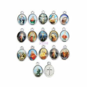 Catholic-Religious-Holy-Crosses-Enamel-Art-Medals-Charms-Jewellery-Pendants-15mm
