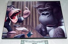 "Animated Monkey Ape Gorilla 14"" X 11"" Aluminum on Wood Office Bar Man Cave Sign"