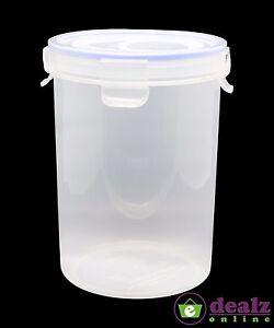 Clip Lock Lid Round Plastic Food Storage Container Kitchen Organiser
