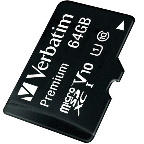 Verbatim Premium 64 GB Micro SD SDXC Speicherkarte + Adapter Class 10 Card Karte
