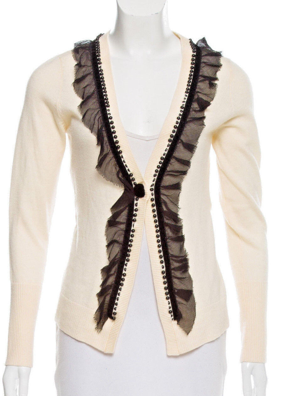Nanette Lepore Cardigan Sweater Large Wool With Silk Lace Trim L