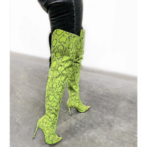 Cape Robbin TOXIC Lime Faux Snake Over Knee Thigh High Peep Toe Stiletto Boot