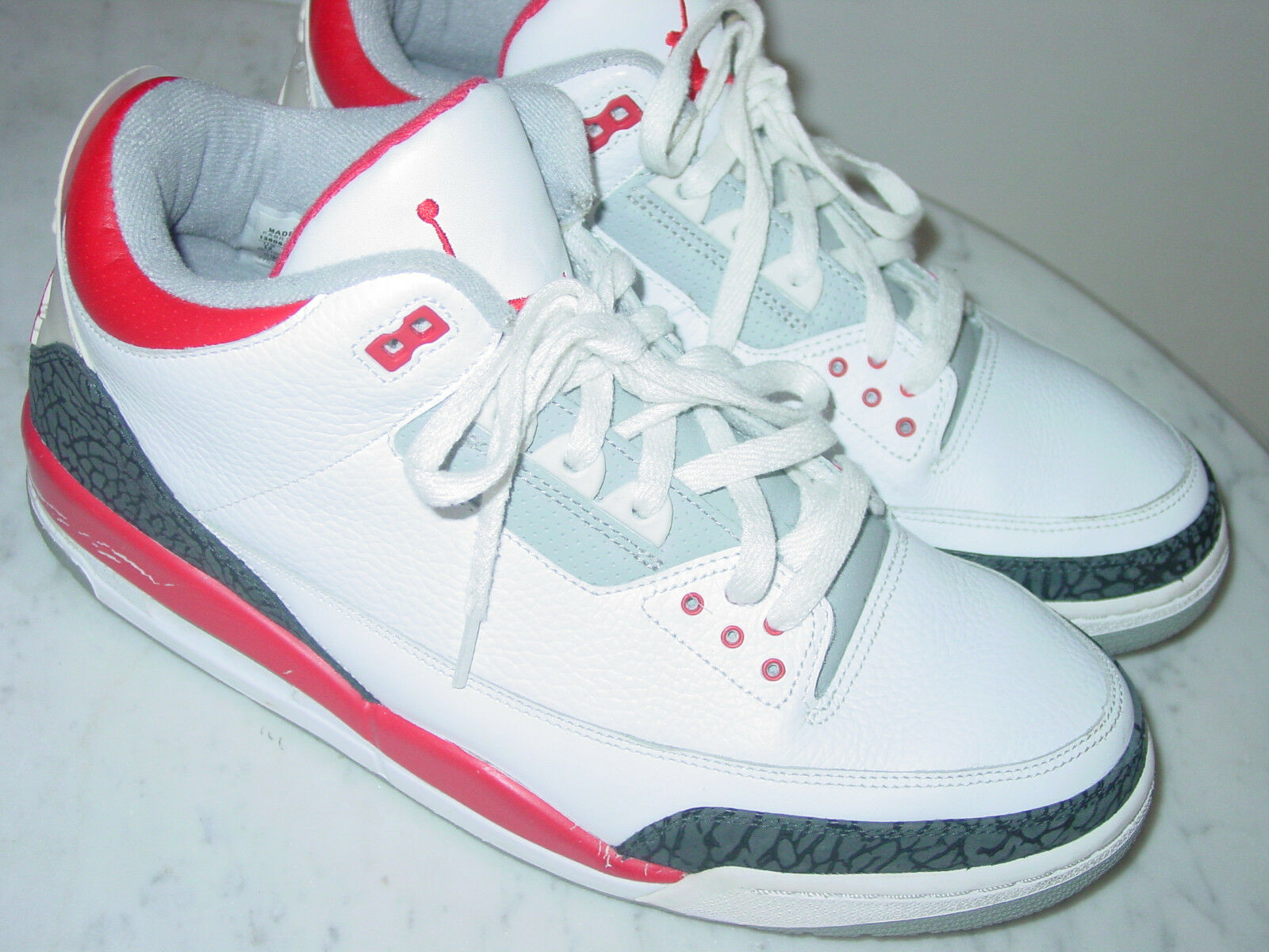 2006 Nike Air Jordan Retro 3 White Fire Red Cement shoes Size 13 Sold As Is