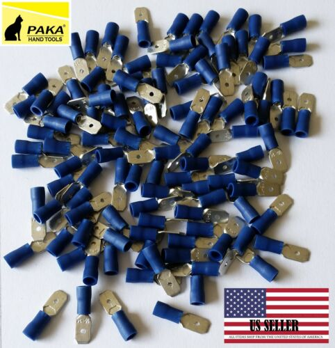 100 PCS BLUE Male Vinyl  Insulated Spade Wire Connector Terminals 16-14 AWG MD