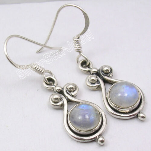 """925 Solid Silver ROUND RAINBOW MOONSTONE Earrings 1.3/"""" Winter Sales Promotion"""