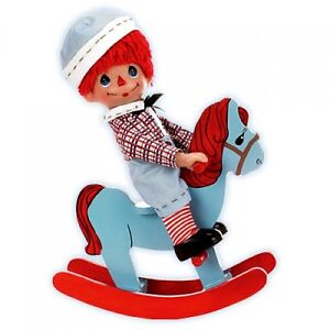 Precious-Moments-Rockin-Raggedy-ANDY-9-034-Doll-in-Wood-Rocking-Horse-by-Linda-Rick