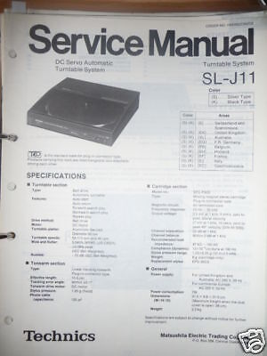 Service-manual Technics Sl-j11 Plattenspieler,original Tv, Video & Audio