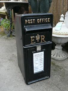 Royal-Mail-ER-Casella-Postale-Nera-Ghisa-Ufficio-Gettare-Scatola-Di-Ferro