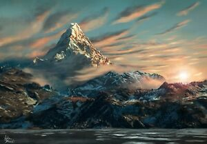 Fantasy-Erebor-The-Hobbit-Lonely-Mountain-Art-Photo-Poster-Canvas-Pictures