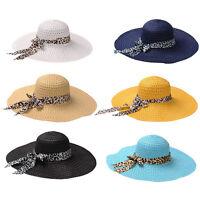 Women Summer Beach Hat Lady Cap Wide Brim Bow Fold Summer Sun Straw Hat New