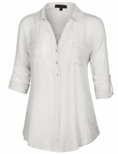 *CLEARANCE* Women/'s 3//4 Sleeve Button Down Pullover Blouse Shirts with Pocket
