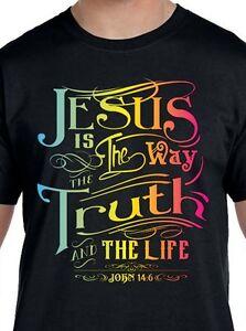 Jesus-Is-The-Way-Truth-Light-Shirt-John-14-6-Christian-T-Shirt-Small-5X