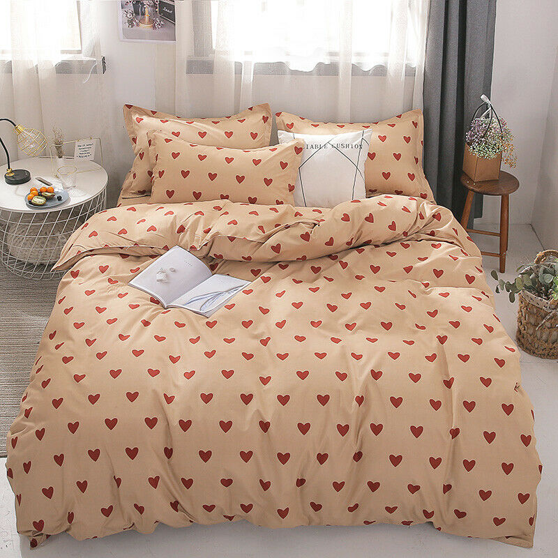 Red Hearts Print Yellow Duvet Cover 3PCS King Queen Full For Summer Beddings set
