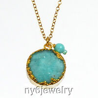 Blue Druzy Agate Pendant & Coral Necklace W/gold Filled Chain & Clasp 17.5