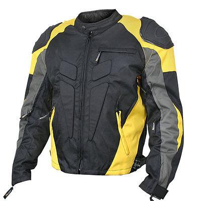 Xelement Men's black/yellow Armored Race Motorcycle Jacket CF-625