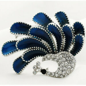 Women-039-s-Korean-Style-Elegant-Blue-Crystal-Rhinestone-Peacock-Brooch-Pin
