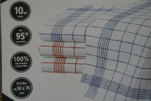 10 Stück Geschirrtücher 100/% Baumwolle 50 x 70 cm-95 Grad Wäsche  Rot//blau