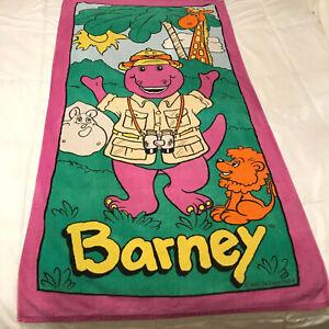 Vintage-1993-Barney-The-Purple-Dinosaur-Beach-Towel-Jungle-Lion-Hippo-Giraffe