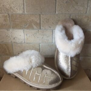 1c9eeb87ba1 Details about UGG COQUETTE LOGO SPARKLE GOLD SHEEPSKIN CUFF SHOES SLIPPERS  SIZE US 7 WOMENS