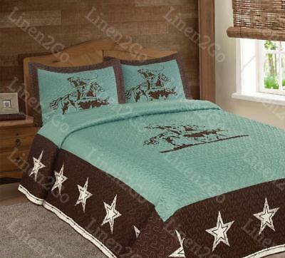 Texas Rustic Rodeo Cowboy Star Western Quilt Bedspread Comforter Shams 3Pc Set!!