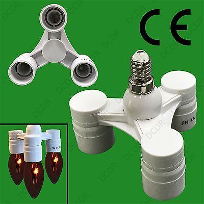 1x E14 To 3x E14 Portalámparas Adaptador Estudio Fotografía Socket Divisor