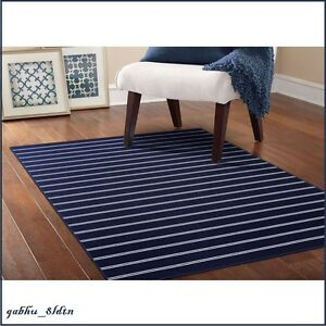 Nautical Area Rug Navy Blue Stripe Tropical Coastal Beach