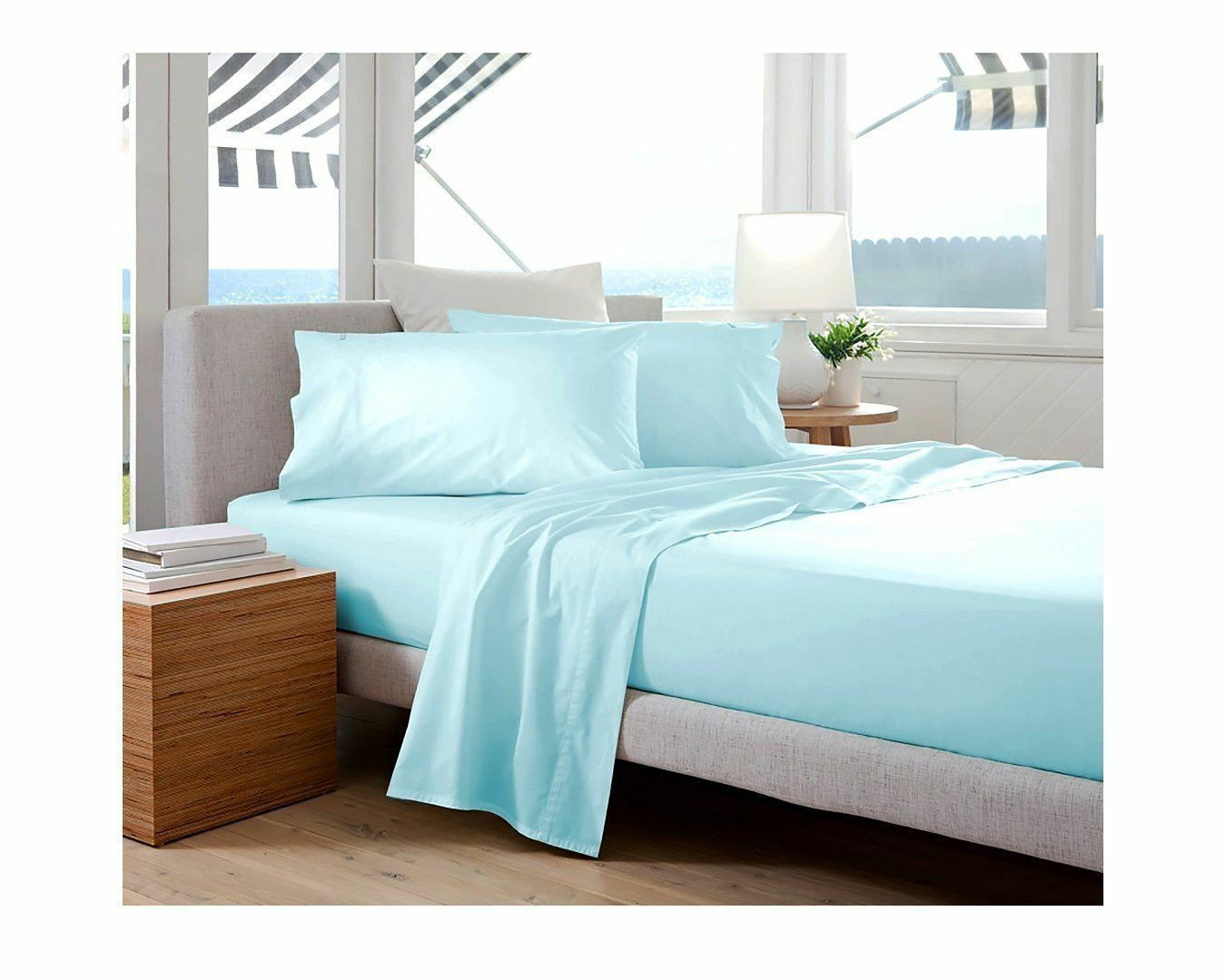 US Bedding Items 1000 Thread Count 100% Egyptian Cotton Light bluee Solid_