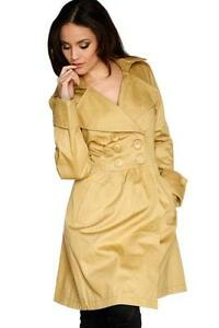 LADIES-YELLOW-SIZE-M-DOUBLE-BREASTED-LONG-LINE-TRENCH-COAT-MAC-JACKET-BLAZER-VTG