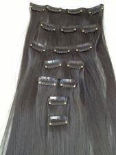 "jet black 7 pcs set straight 20"" long clip in on hair extension heat resist"