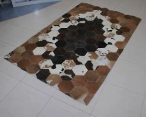 Details About Cowhide Patchwork Rug Leather Cow Hide Brown White Hair On Carpet Cowksin Rugs