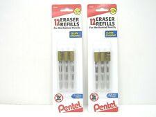 2 Pentel 12 Eraser Per Pack Refills Replacement For Mechanical Pencils Z2 1n New
