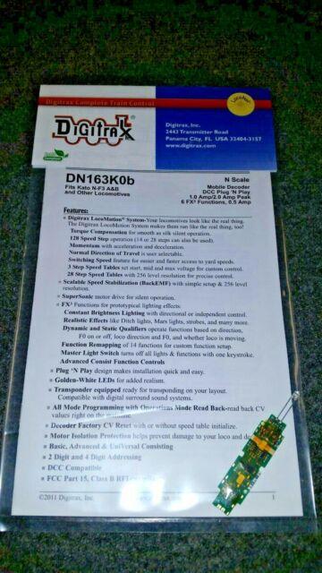 Digitrax DN163K0B 6 function N scale decoder Kato F3 A-B etc NIP
