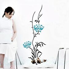 BLUE FLOWERS STICKERS WALL ART DECORATION PLAYROOM STICKER ROOM HOME DECOR DECAL