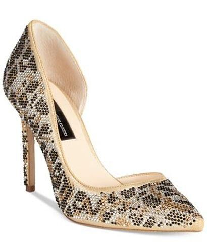 INC International Concepts Kenjay d/'Orsay Leopard Gold Silver Pumps Heels $110