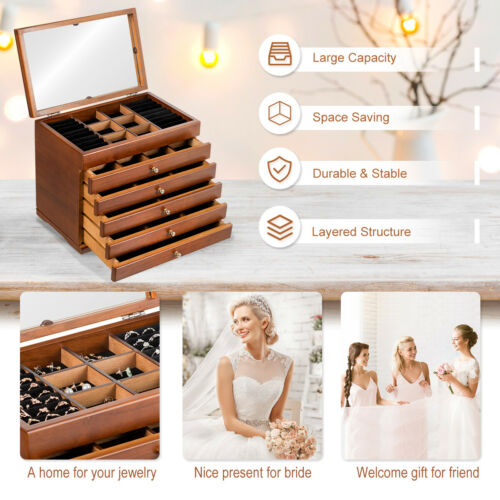 Mirrored Wooden Jewellery Box Chest Rings Necklaces Storage Organiser Cabinet