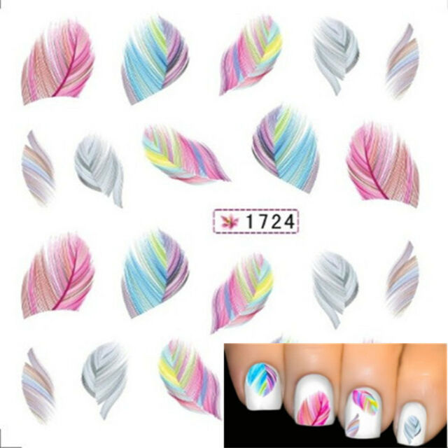 Beauty Water Transfer Stickers Nail Art Tips DIY Feather Decals Rainbow Dreams