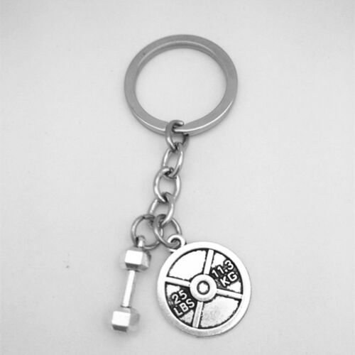 Fitness Crossfit Bodybuilding Gym Dumbbell 25lbs WEIGHT Charm Keychain