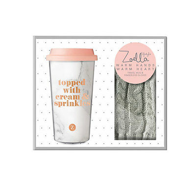Zoella Travel Mug & Gloves Set - Warm Hands, Warm Heart