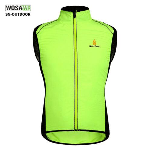 Men/'s Cycling Wind Vest Green Bike Bicycle Waistcoat Sleeveless Jersey Windproof