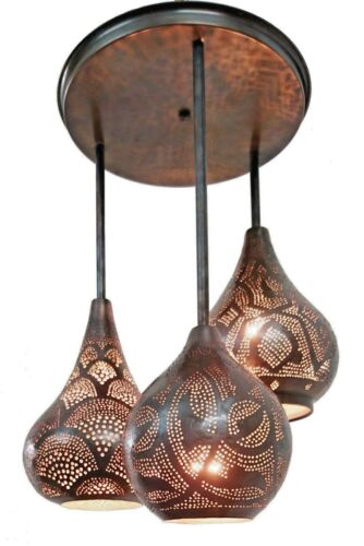BM7 Mosaic Moroccan Light Cluster Ceiling Brass Fixture Chandelier