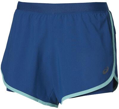 Asics 2 Nel 1 Da Donna In Esecuzione Pantaloncini-blu-