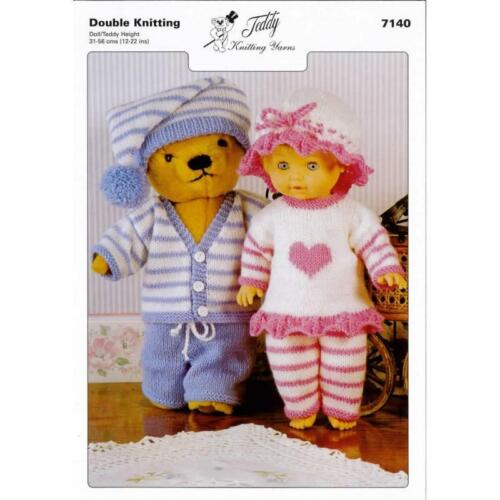 7140 Teddy DK Tejer patrón Muñeca /& Teddy trajes