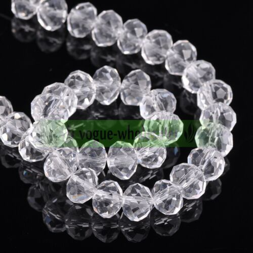 Wholesale Rondelle Faceted Crystal Glass Loose Spacer Big Beads 12//14//16//18mm
