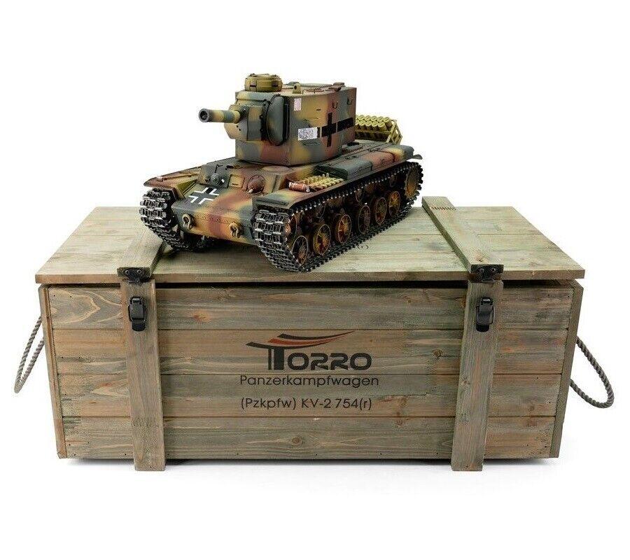 1 16 Torro Ruso Tanque RC KV-2 754r 2.4GHz Edición De Metal Infrarrojo Pro