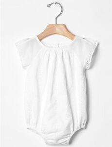 GAP Baby Girl Size 6-12 Months NWT White Eyelet One-Piece Romper Bodysuit